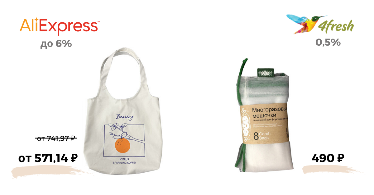 Шоппер из Aliexpress и многоразовые мешочки из 4fresh